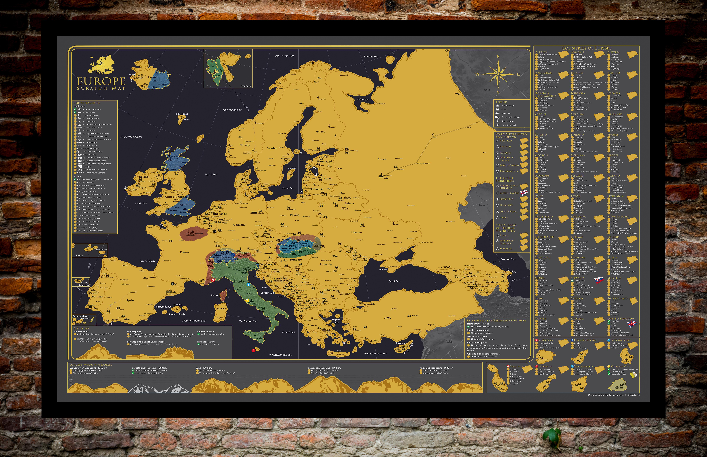Rubbelkarte Europa - teilweise weggerubbelte Teile