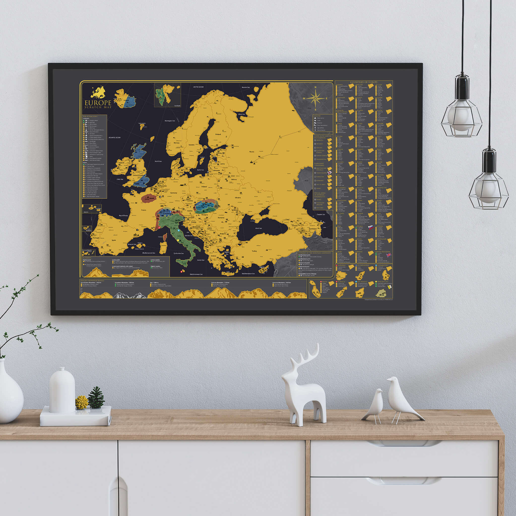 Rubbelkarte Europa - An einer Wand