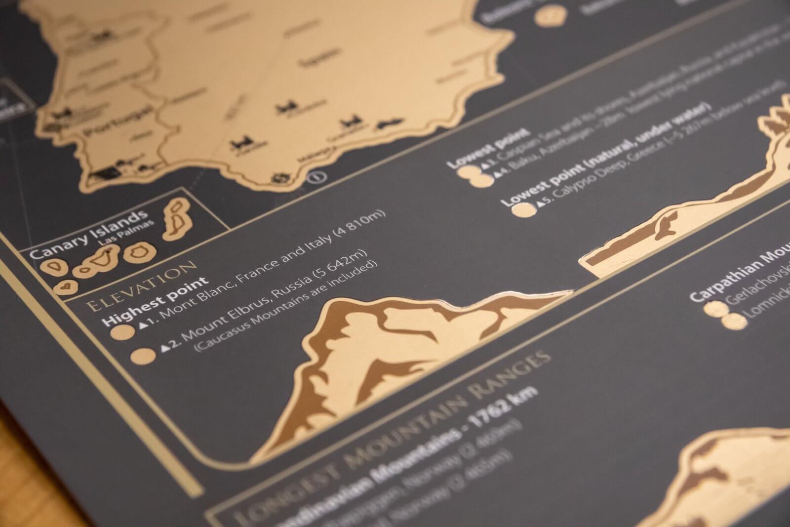 Rubbelkarte Europa - Detailansicht Gebirge
