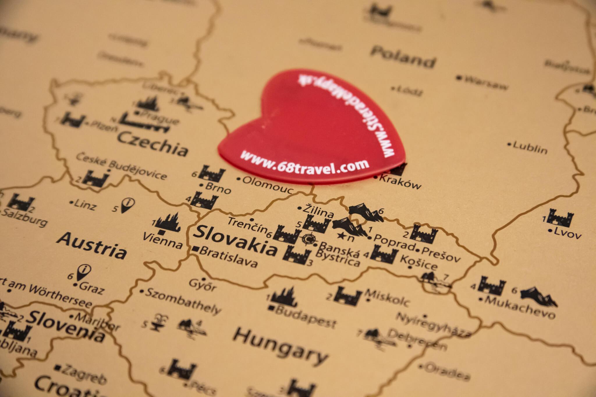 Rubbelkarte Europa - Detailansicht des Rubbelwerkzeugs in Zentraleuropa