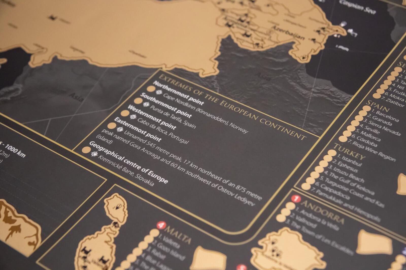 Rubbelkarte Europa - Detailansicht Extreme