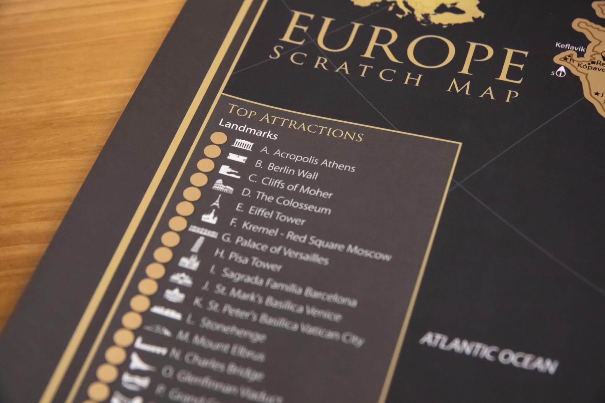 Rubbelkarte Europa - Detailansicht Top-Attraktionen