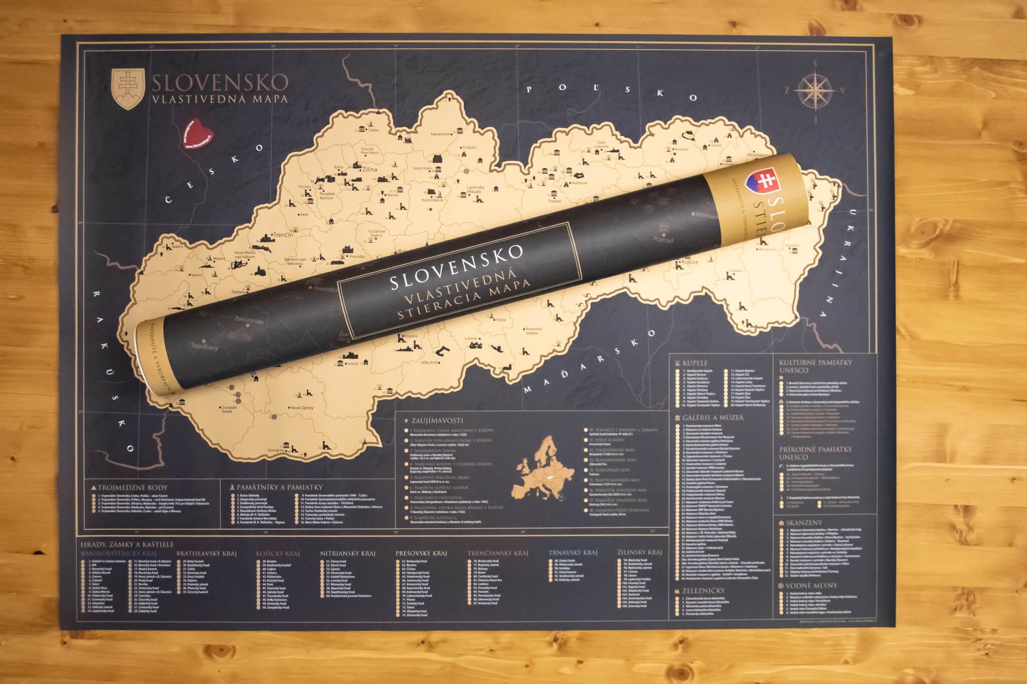 Rubbelkarte Slowakei - ganze Karte mit Geschenkrolle