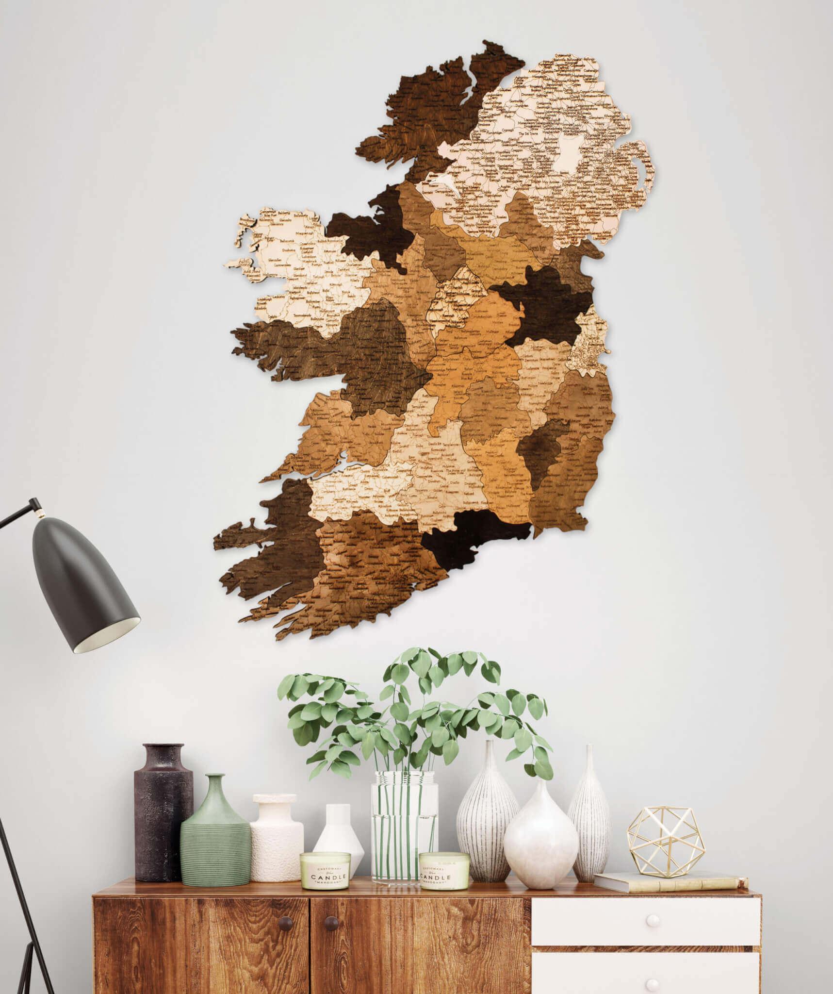 Holzkarte von Irland - Wanddekoration