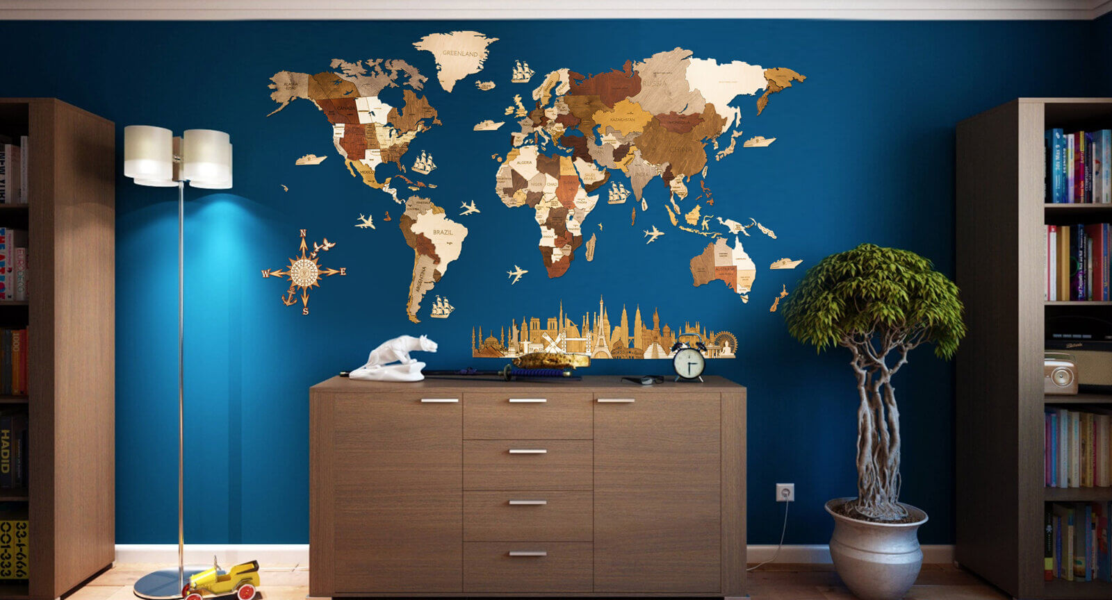 Wooden World Map - Interieur