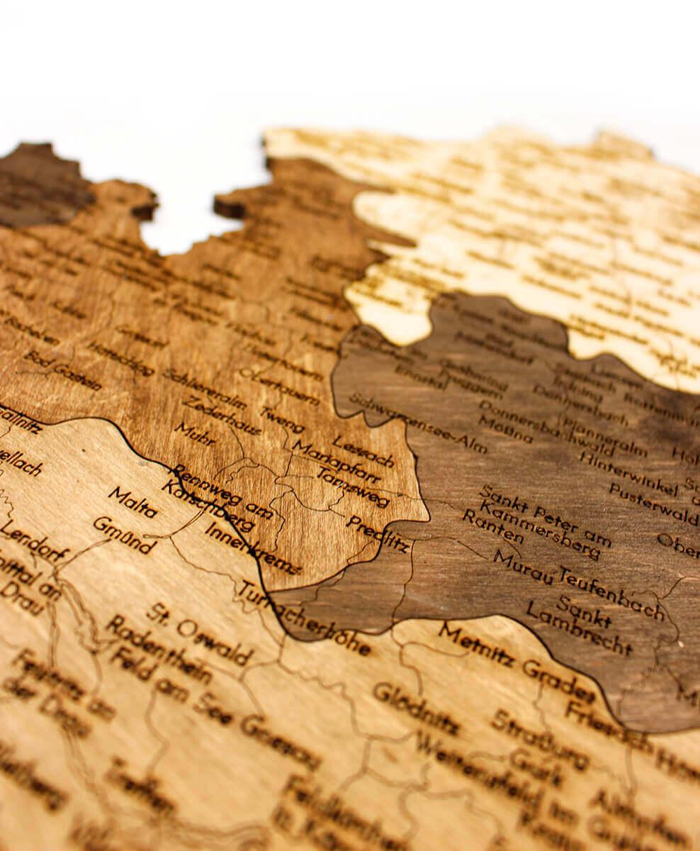 geschichtete Holzkarte von Österreich - Wanddekoration