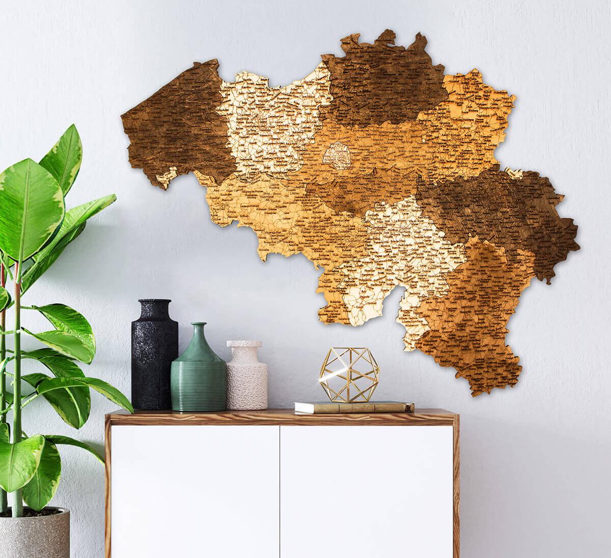 geschichtete Holzkarte von Belgien - Wanddekoration