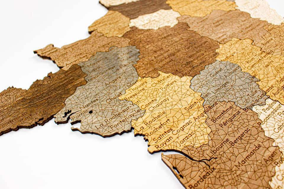 geschichtete Holzkarte von Frankreich - Wanddekoration