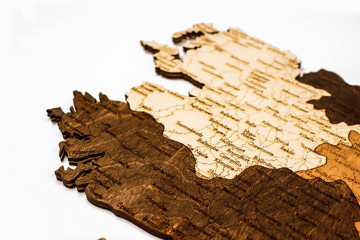 geschichtete Holzkarte von Irland - Wanddekoration