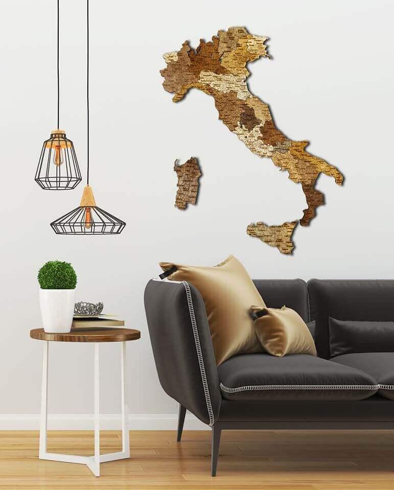 geschichtete Holzkarte von Italien - Wanddekoration
