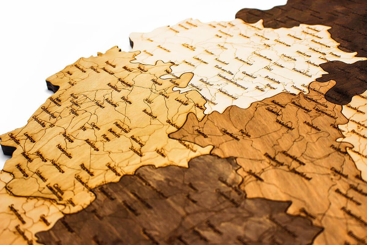 geschichtete Holzkarte von Luxemburg - Wanddekoration