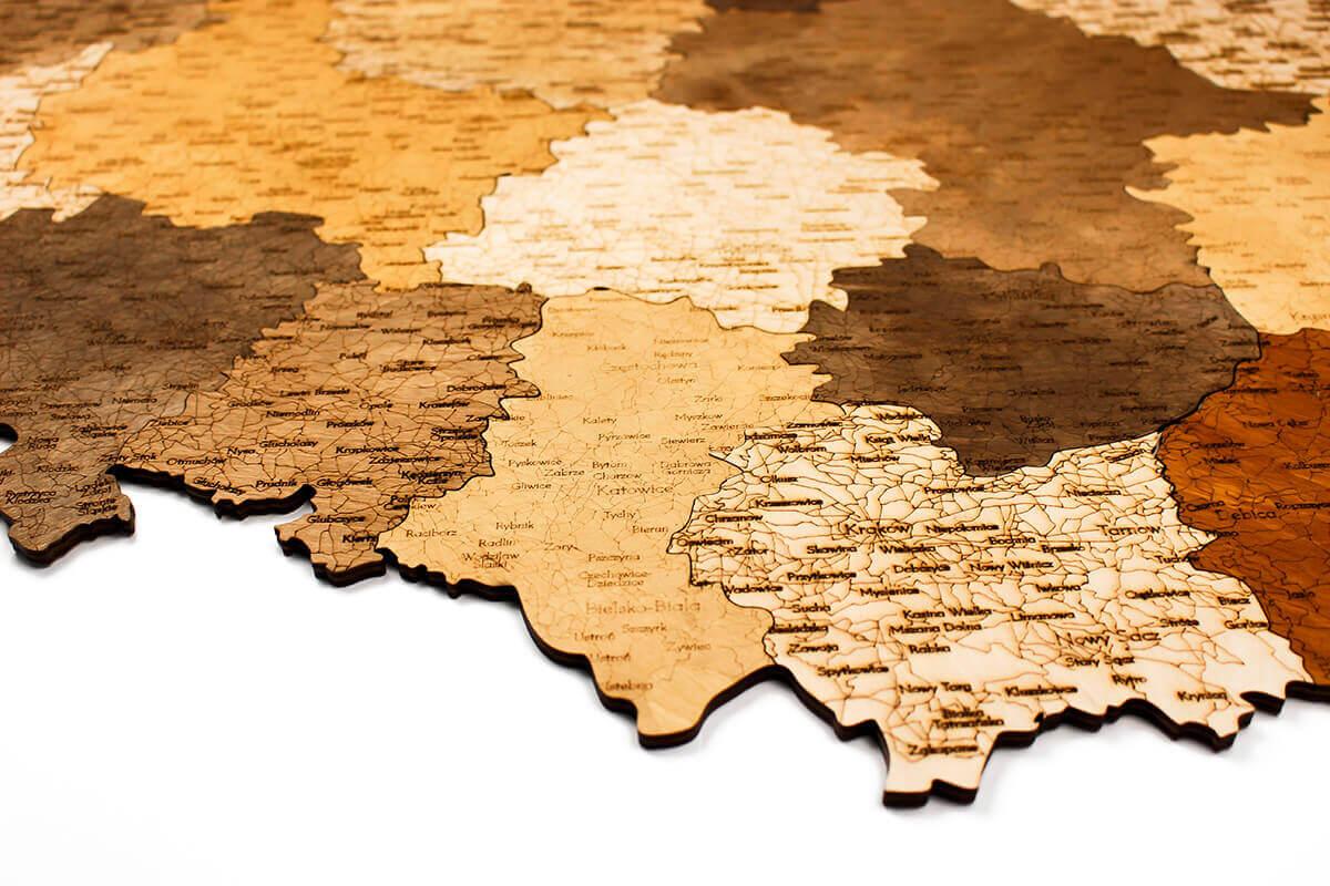 geschichtete Holzkarte von Polen - Wanddekoration