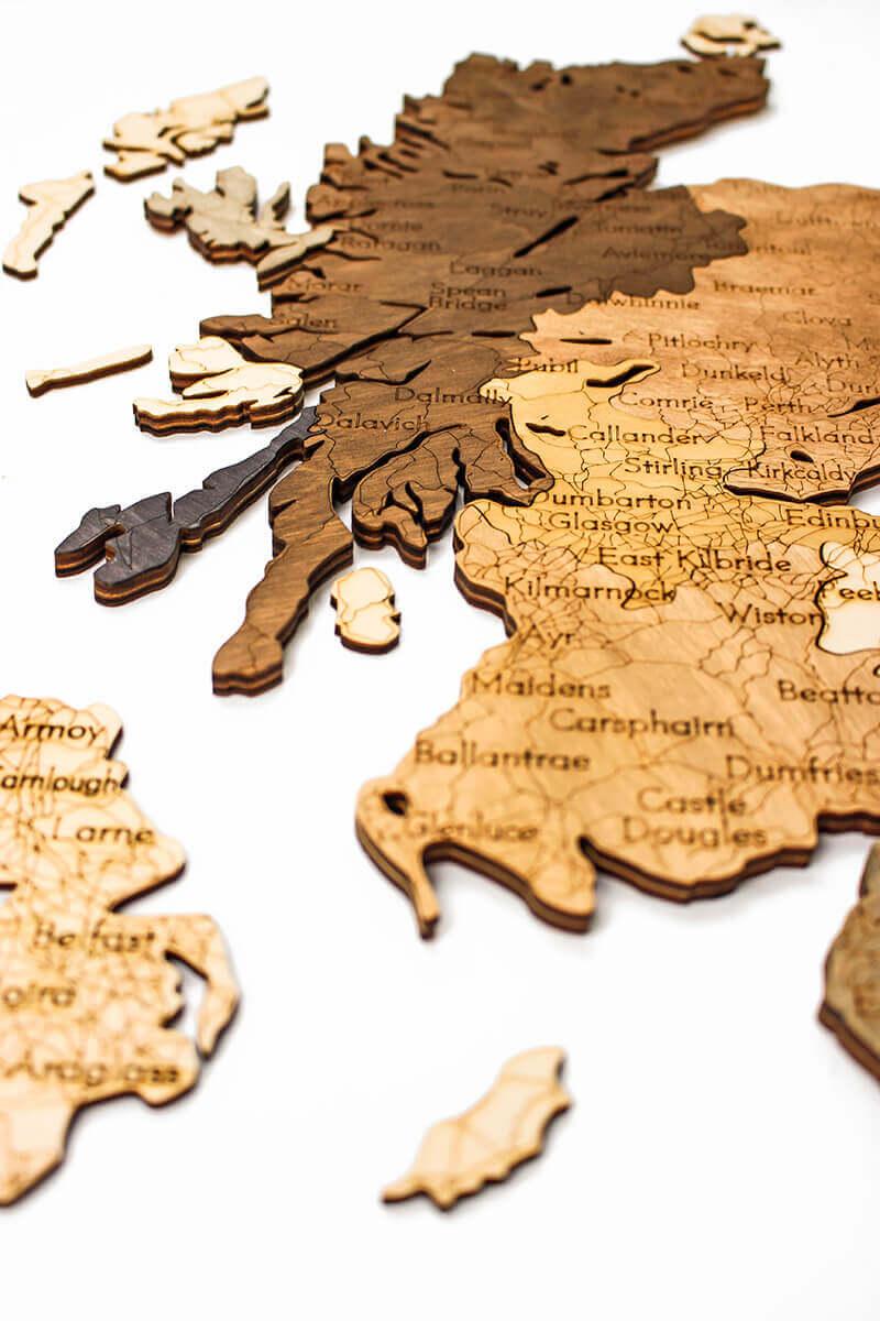 geschichtete Holzkarte von Großbritannien - Wanddekoration