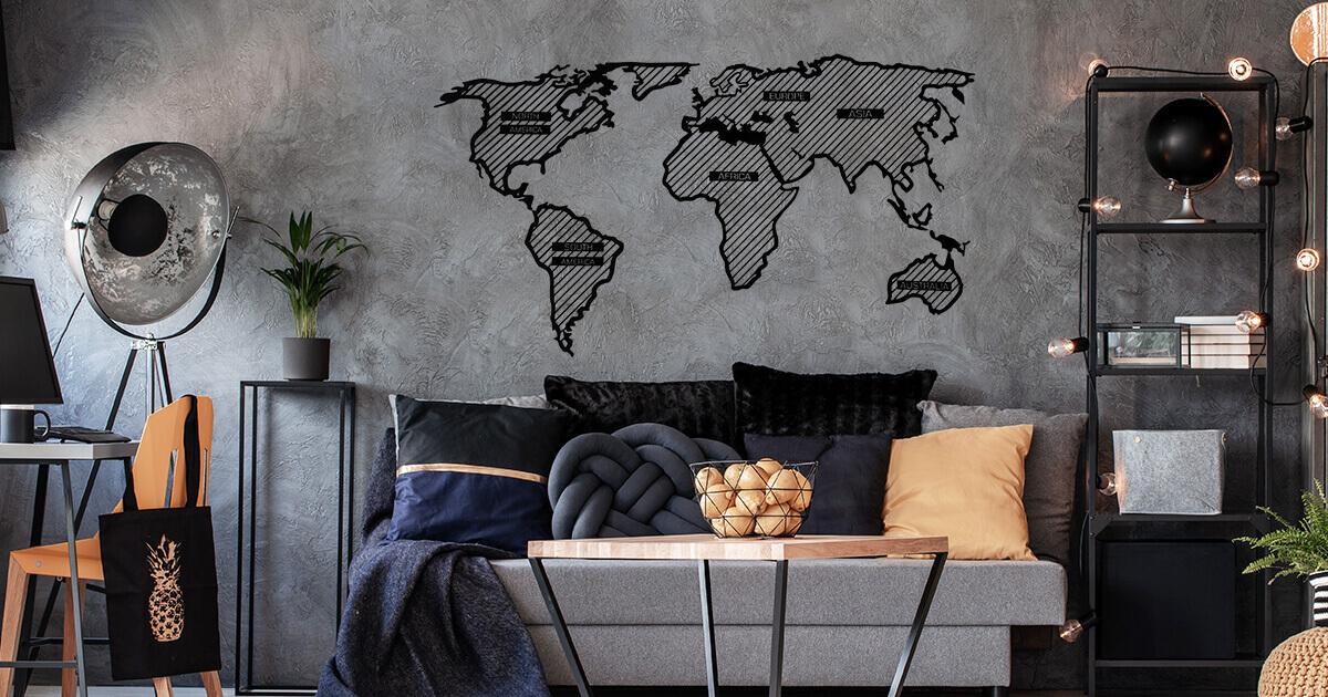 LINE Holzkarte der Welt - an der Wand montiert