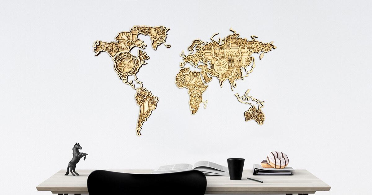 Industrielle Holzkarte der Welt - an der Wand montiert