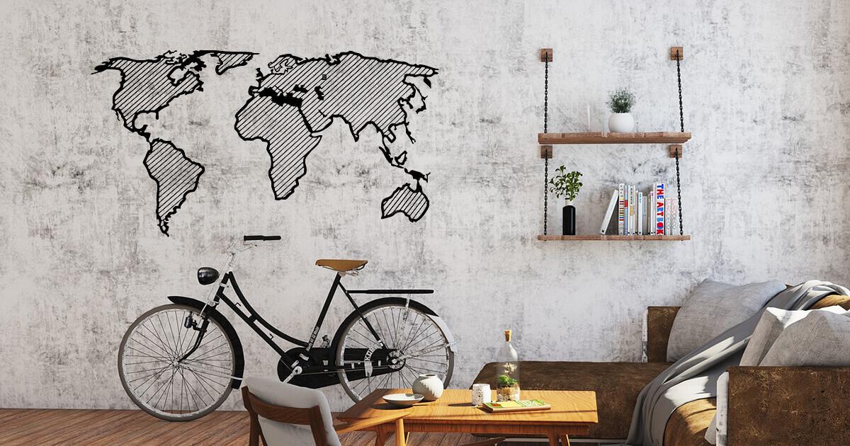 LINE Holzkarte der Welt - Reisende