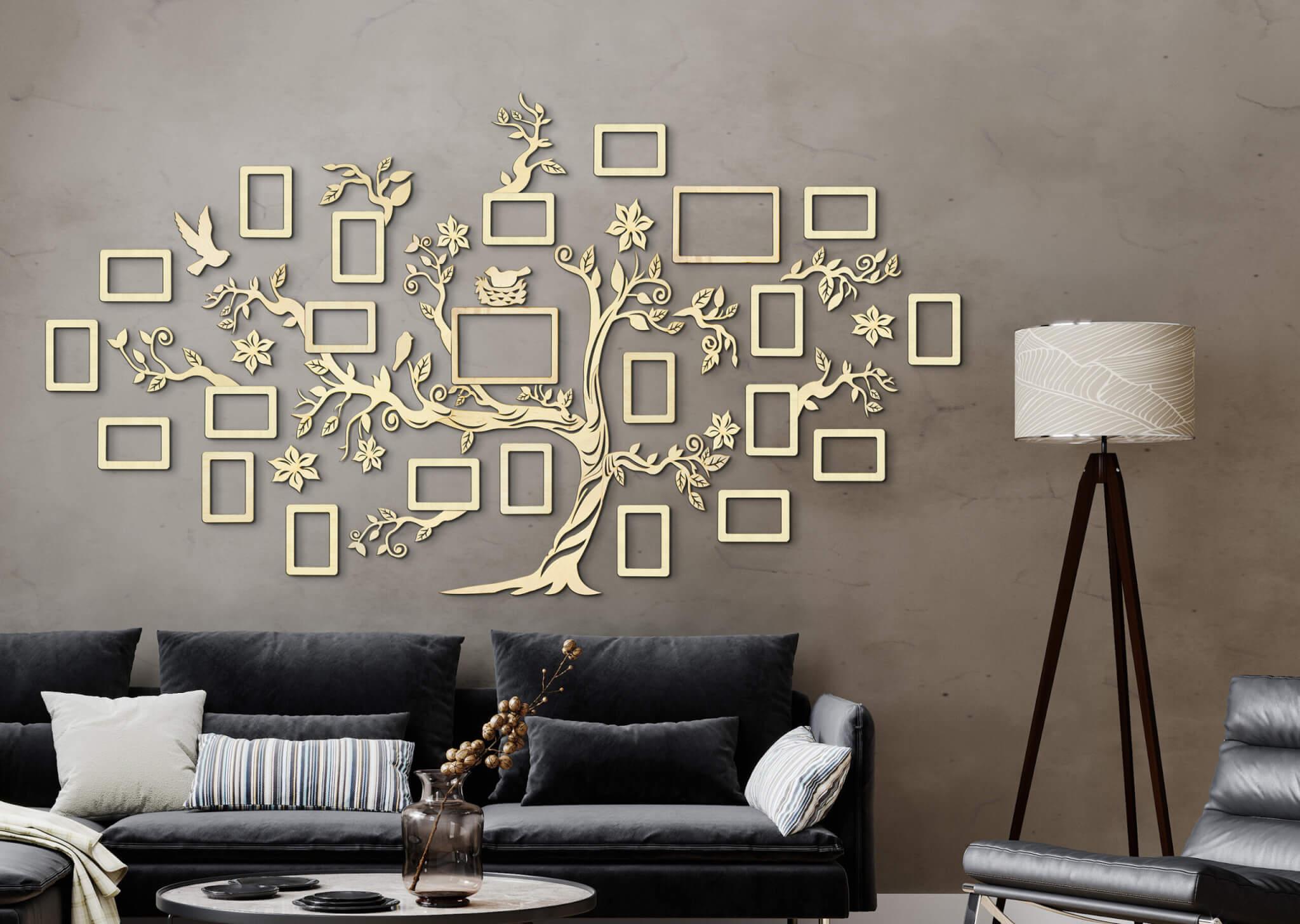 Stammbaum aus Holz - Wanddekoration