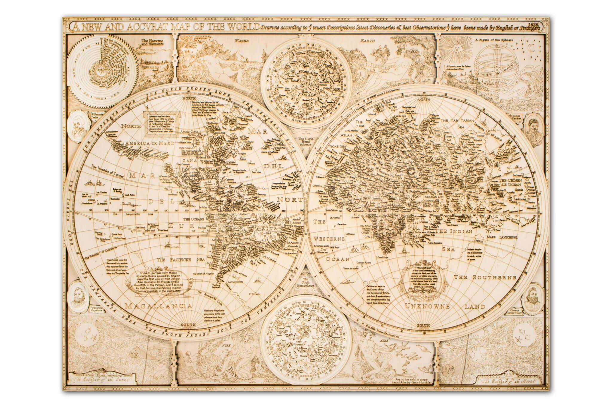Historische Holzweltkarte - Gravur Detail