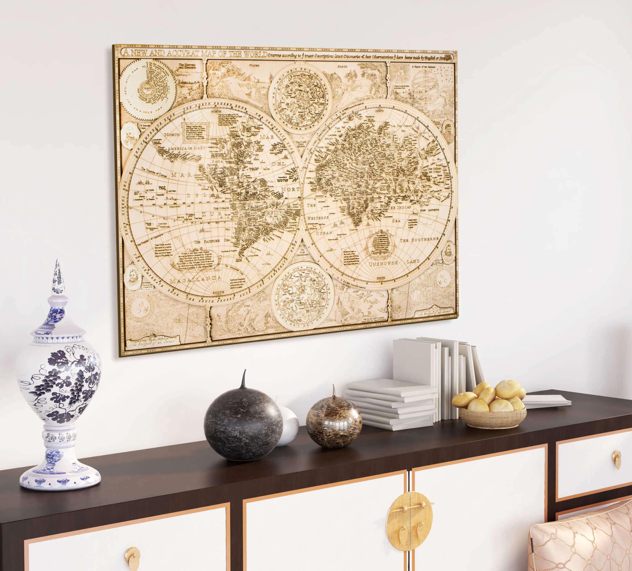 Historische Holzweltkarte - von 1626