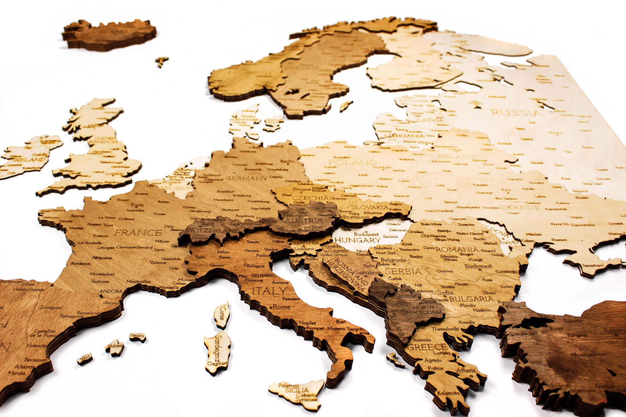 Holzkarte Europas - Wanddekoration