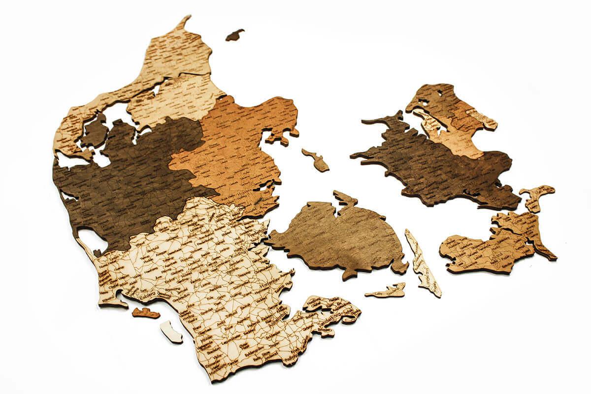 Holzkarte von Dänemark