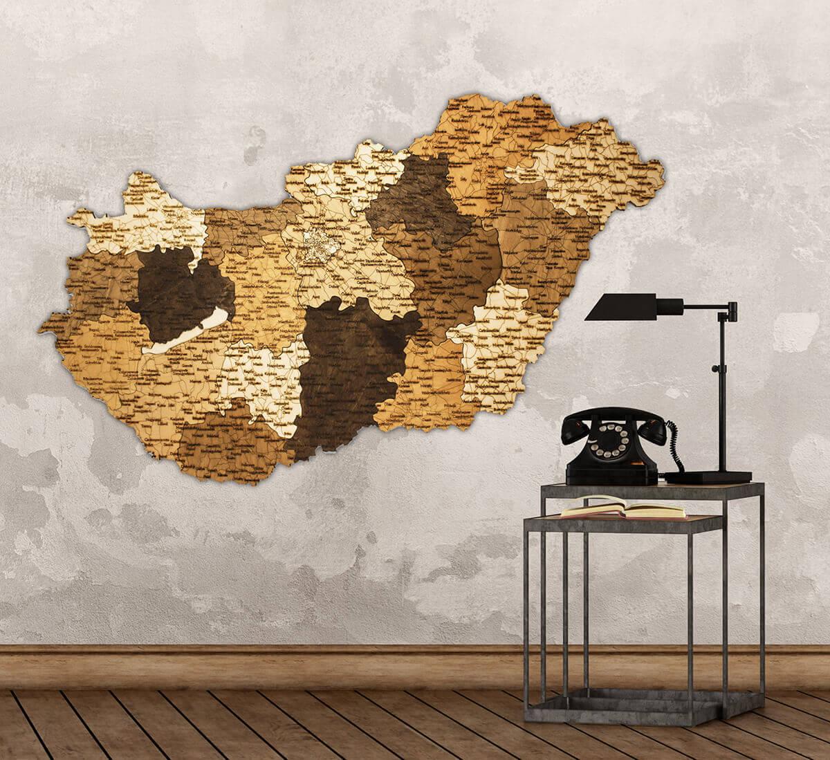 Holzkarte von Ungarn