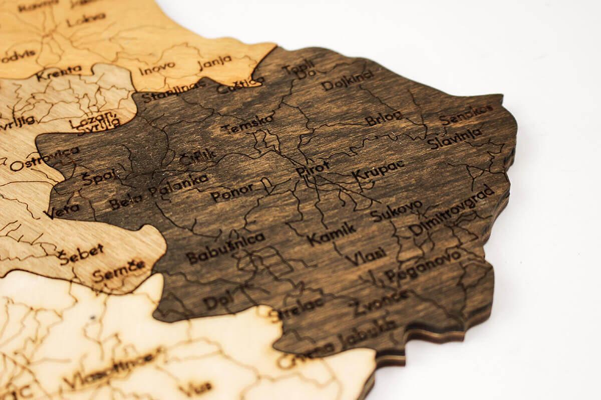 Holzkarte von Serbien
