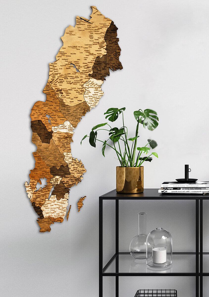 Holzkarte von Schweden