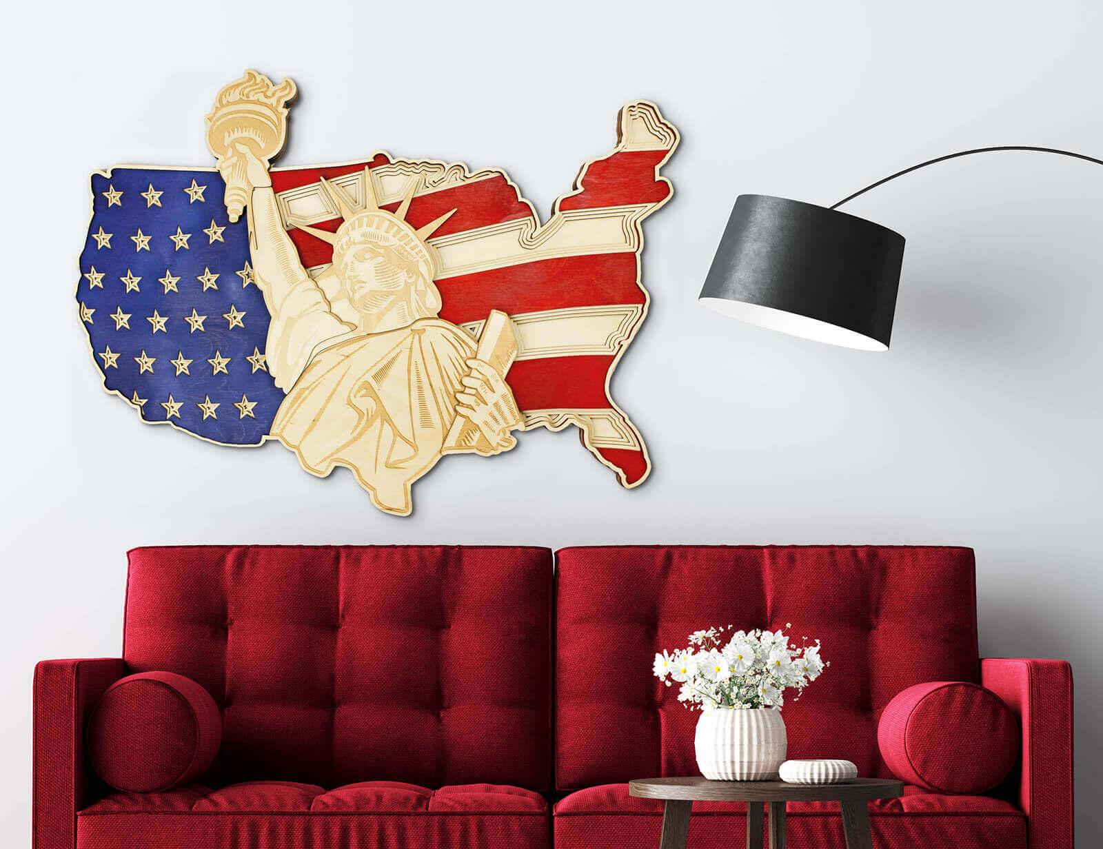 Freiheitsstatue und US-Karte