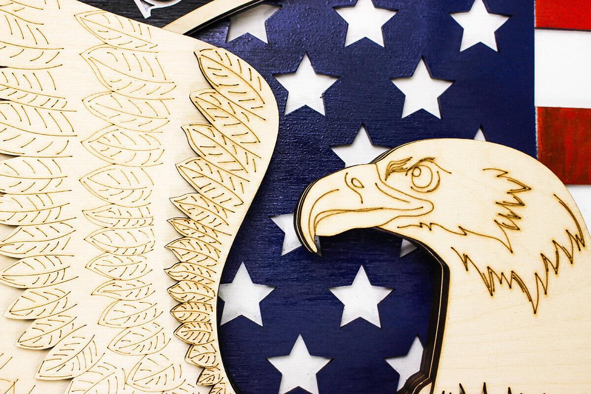 USA Eagle Symbol - Holzwanddekoration
