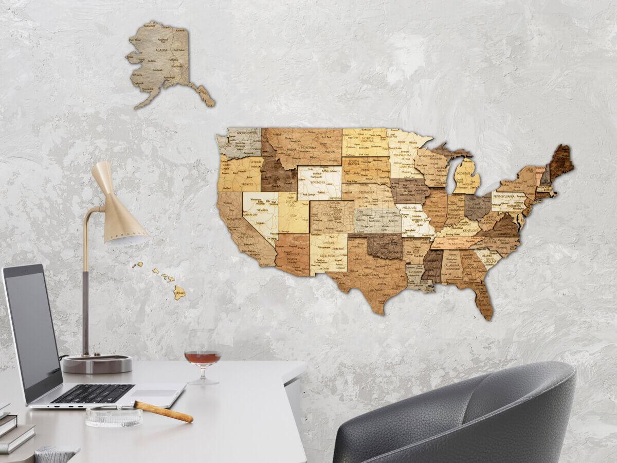 3D Holzkarte der USA